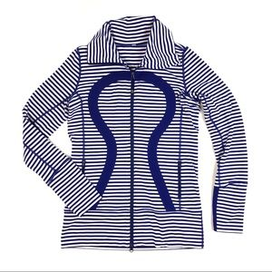Lululemon In Stride stripe Pigment Blue purple zip